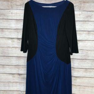 Chaps Blue Black Career or Work 3/4 Sleeves Dress
